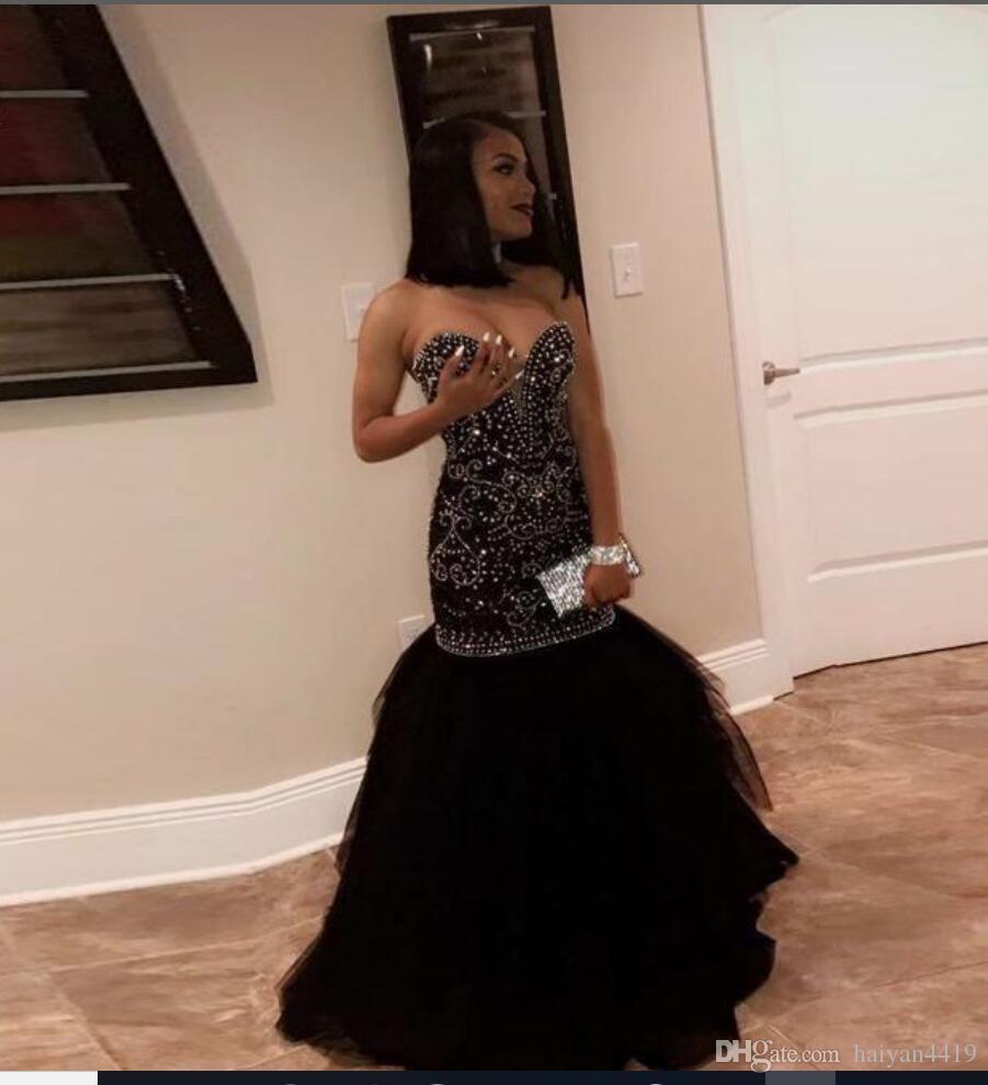 2018 Afrikanisches schwarzes Mädchen-Abschlussball-Kleid-Schatz-Gold bördelte Kristalldurchzug-Zug-Meerjungfrau-formale Tulle-Partei-Kleid plus Größen-Abend-Kleid-Abnutzung