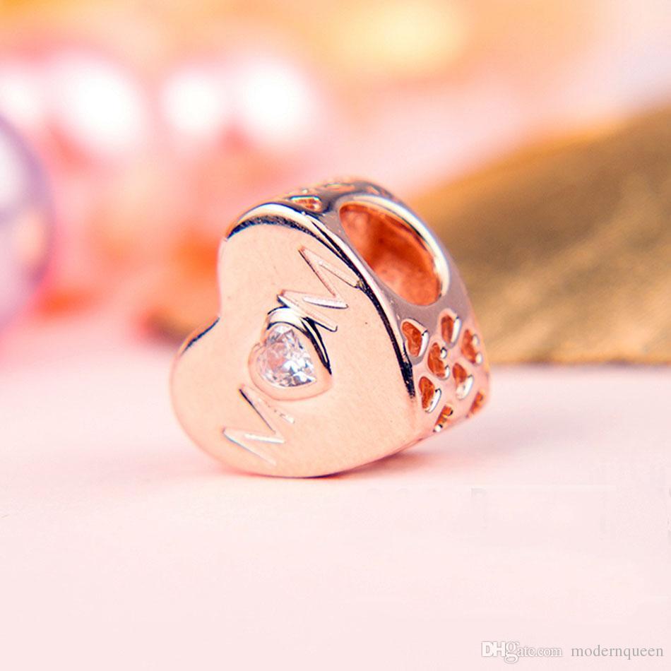 f2f8a9d7b76d5 5 pcs/lot Rose gold mom charms Mother heart fits pandora style bracelets  781881CZ H9