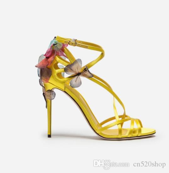 71db017f4c Compre 2018 Sandalias De Tacón Alto Femeninas Elegantes Mujeres Vestido De  Fiesta De Noche Zapatos De Mariposa Bordado Bombas De Las Mujeres Zapatos  De ...