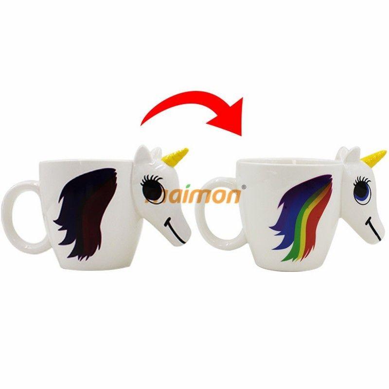Fashion Color Changing Coffee Mug Unicorn Shaped Ceramic Cup ...