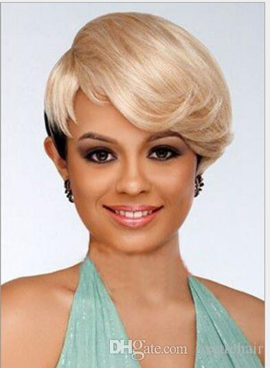 Black Blonde Ombre Short Cut Hair Wig With Side Bang Heat Resistant