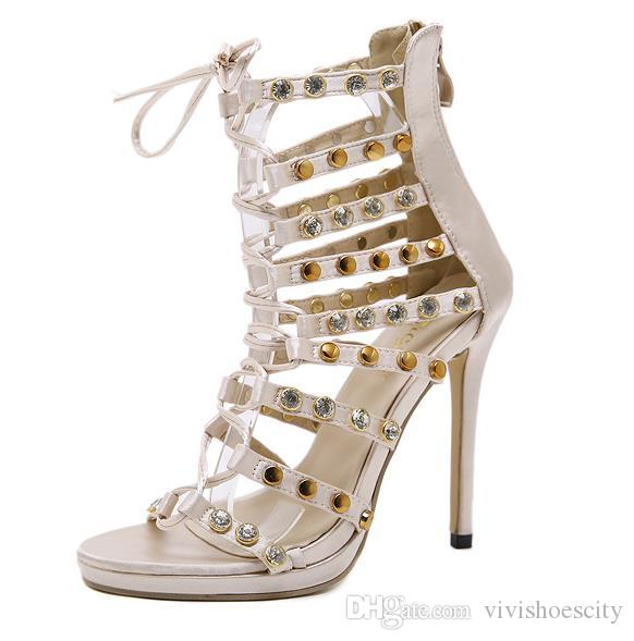 332074925a0 Luxury wedding shoes ivory rhinestone rivets lace up T strappy high heels  women designer sandals size 35 to 40
