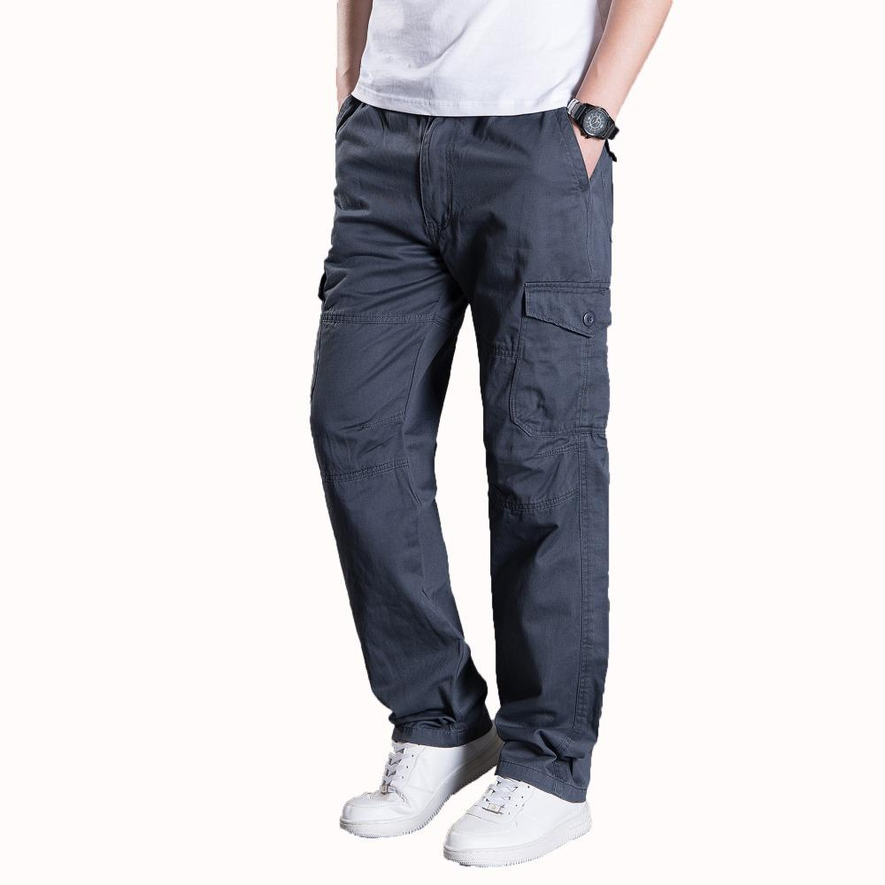 fa449968ec87 2019 Man Multi Pocket Cargo Pant Male Comfort Trousers Khaki Black Men  Cotton Pant Mens Adjustable Elastic Waist Trousers Plus Size From  Baxianhua