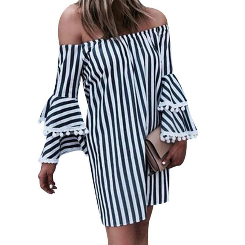 99053f075b82 Sexy Off Shoulder Ruffle Dress Women Fashion Striped Long Flare Sleeve Mini  2019 Summer Ladies Loose Boho Beach Dresses Vestido Short And Long Dresses  ...