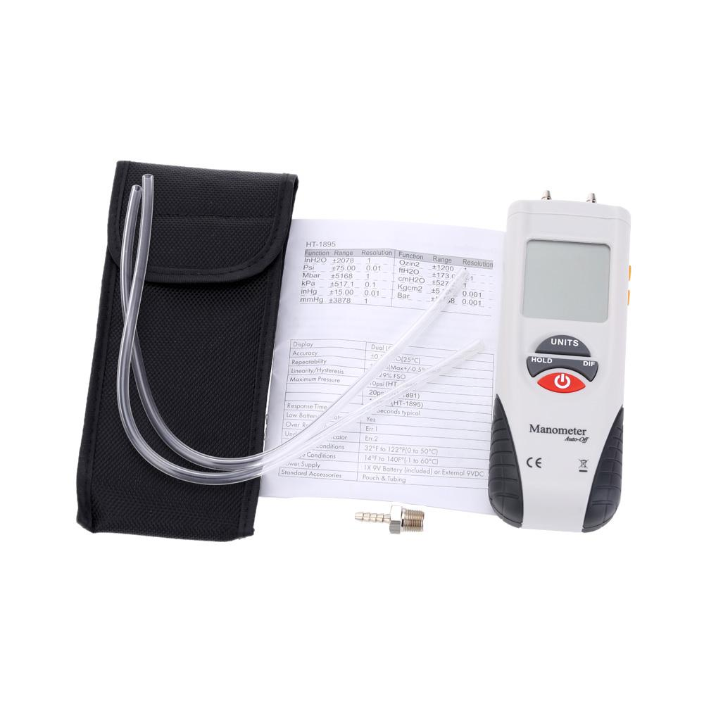 LCD HT-1890 Manomètre Numérique Manomètre Pression Manomètres Kit de jauge différentielle + Boîtier + Boîte de vente au détail 11 unités