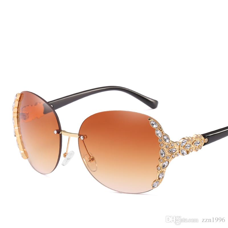 d93dfcbb3d Luxury Vintage Diamond Rimless Sunglasses Women Brand Designer Oversized Retro  Female Sunglass Sun Glasses For Women Lady Sunglass 2018 Sunglasses Hut ...