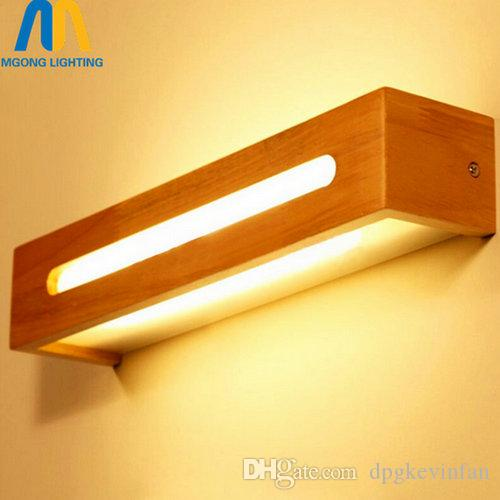 2019 Wooden Vintage Bathroom Led Wall Mirror Light Fixtures For Home