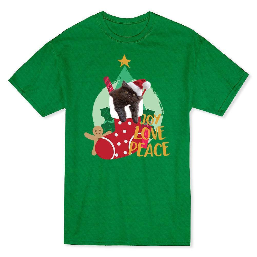 joy love peace cute cat christmas time mens t shirt funny offensive t shirts t shirt tee from zhangjingxin09 1196 dhgatecom
