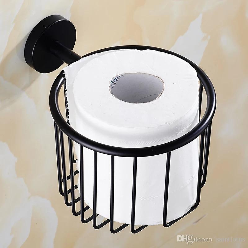 black Stainless steel Bathroom Shower Room Toilet Paper Basket Holder Round Tissue Rack Shelf Wall Mounted