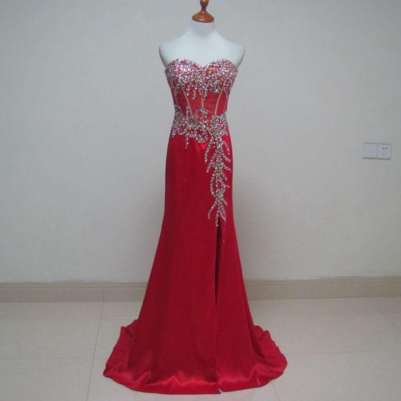 Beaded Sweetheart Neckline Long Satin Evening Dress 2019 Red Split