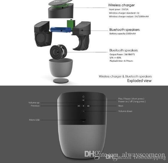 Chargeur sans fil avec haut-parleur Bluetooth Qi-activé charge rapide pour téléphone portable Musique stéréo Subwoofers portables avec paquet de détail