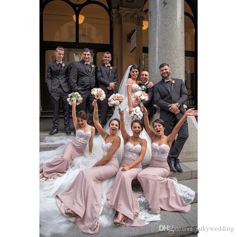 Blush Pink Mermaid Bridesmaid Dresses Spaghetti Straps Appliques Lace  Wedding Party Gowns Maid Of Honor Dress Robes De Demoiselle D Honneur  Corset ... d889553649ca