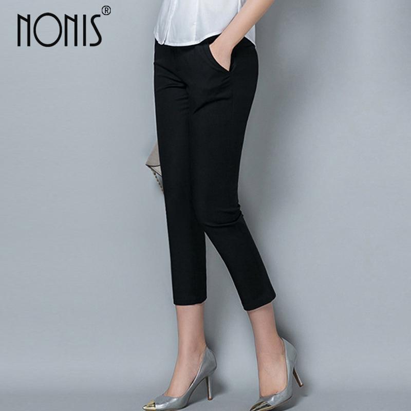 Nonis señoras formales de trabajo de oficina pantalones de desgaste 2017 mujeres de otoño estilo OL negro capris pantalones lápiz femenino pantalones más tamaño 4XL