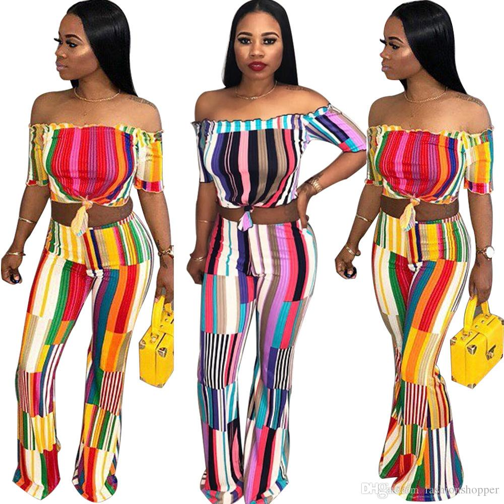 96961821362e Colorful Striped Sexy Set For Women Off The Shoulder Short Sleeve Crop Top  Fashion Flare Pants Casual Suits UK 2019 From Fashionshopper