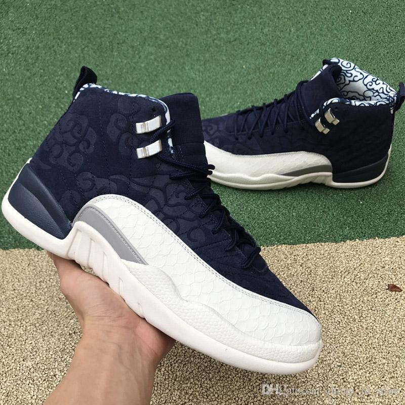 New 12 12s International Flight Basketball Shoes 130690 445 College Navy  Men Trainers Athletic Sports Sneakers Size 40 47 With BOX Men Sneakers  Sneakers Men ... b67d0cb95