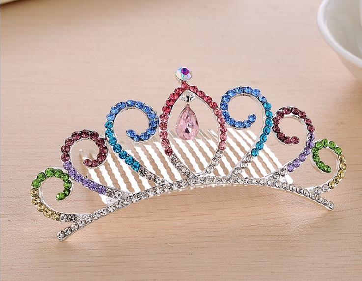 New Arrived Elegant Crystal Crown Full Rhinestone Tiaras for Girls baby Kids Birthday party hair accessories bridesmaid wedding hair comb