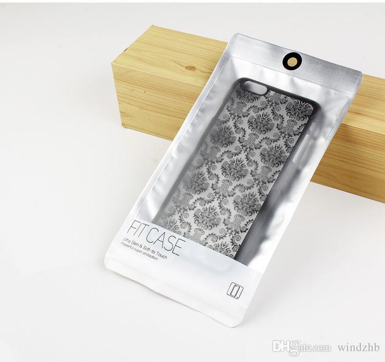Estuche universal para teléfono Empaque de plástico Auto-sellado Paquete de venta al por menor Caja OPP PP Bolsa de embalaje de PVC para iPhone 6 7 8 Plus X Samsung S8 S9 Plata