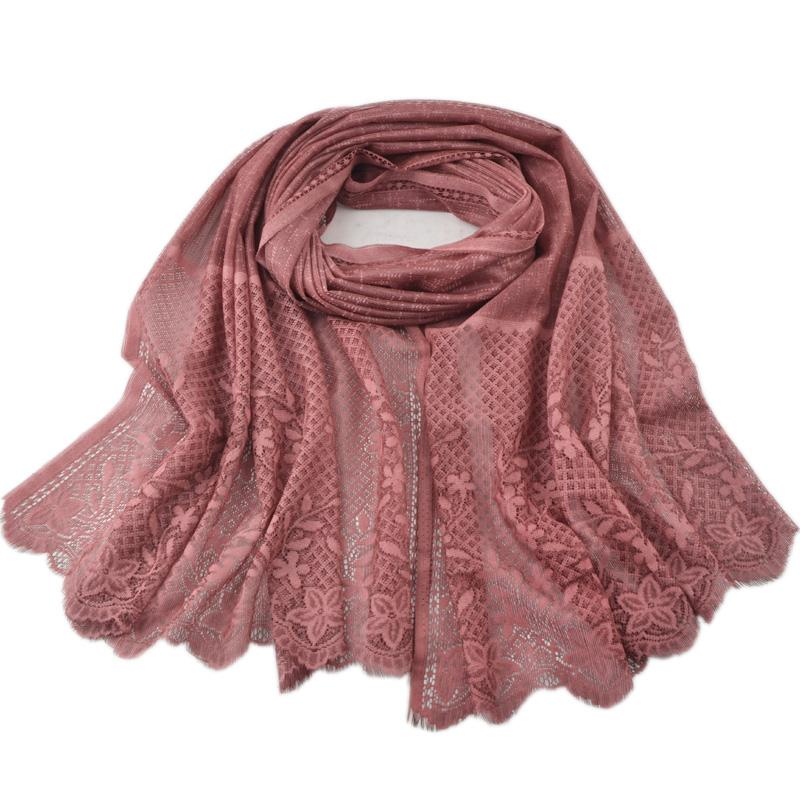 Acheter 2018 New Style Couleur Pure Écharpe De Coton Femme En Dentelle  Musulmane Foulard Creux Out Treillis Écharpe Châle Tie Dyed Foulard Fgy001  De  58.5 ... 3fcae36d1ab