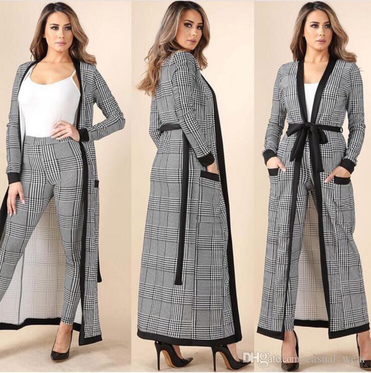 b56b3d52f Compre Novo 2018 Primavera Verão Moda Feminina Casaco Calças Ternos  Houndstooth Três Peças Set Casual Roupas Vesdios De Casual wear