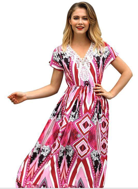 e8a09aa3a52 Acheter Femmes Floral Print Manches Courtes Col V Boho Dress Soirée Robe  Longue Maxi Dress Summer Sundress Robes Casual Robe De Plage De  25.13 Du  Mmengd888 ...