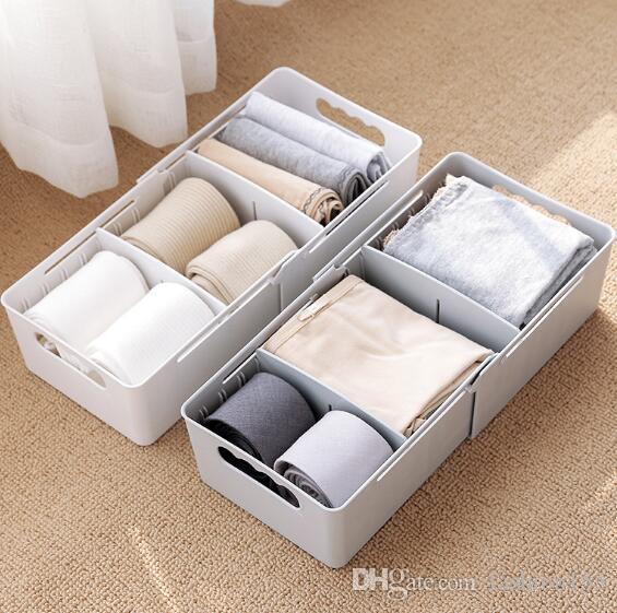 Creative Compartment Underwear Storage Box Plastic Socks Underwear  Finishing Box Desktop Storage Drawer Storage Home Simple