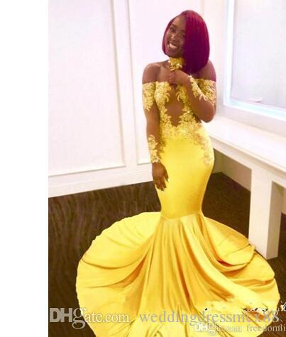 Sexy Yellow Prom Dresses Long Sleeves Mermaid Off the Shoulder Lace Evening Dresses 2018 Formal Appliques Satin Arabic Party Gowns
