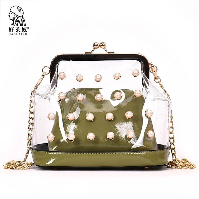 Haolainu Fashion Women Clear Transparent Shoulder Bags With Pearl ... a4a0989679fd0