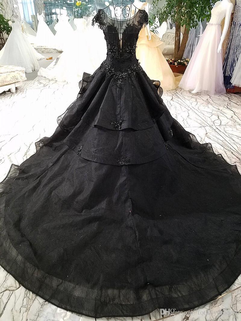 Neue Ankunft Luxus Ballkleid Schwarz Brautkleider 2020 Gothic Court Vintage Nicht Weiße Brautkleider Ricesness Lange Zug Perlen Kappe Ärmel