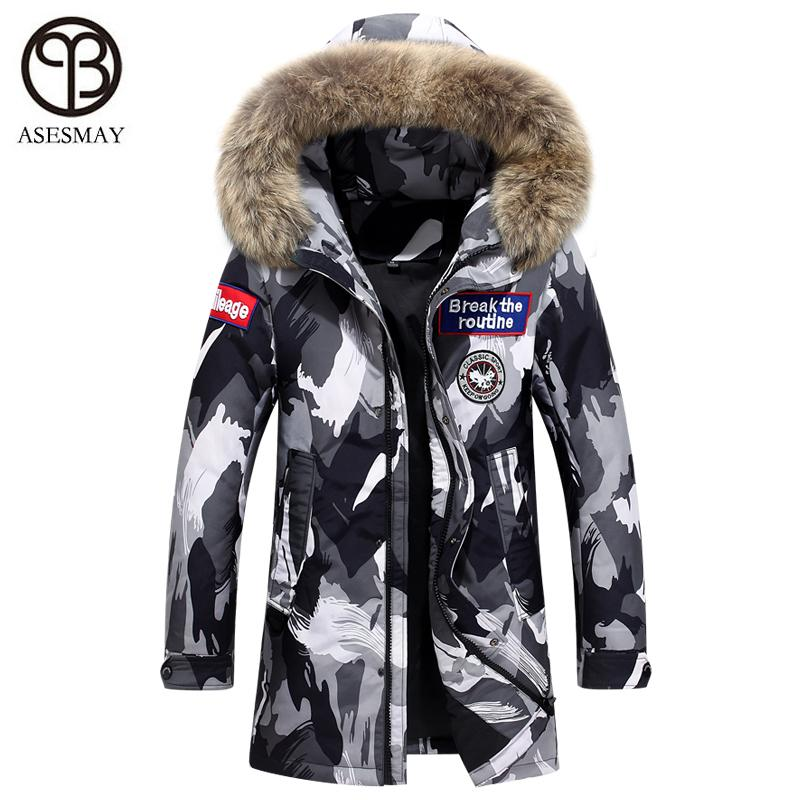 527a2b577 Asesmay luxury mens fashion down jacket men winter coat wellensteyn goose  feather parka real fur hood puffer man casual jackets