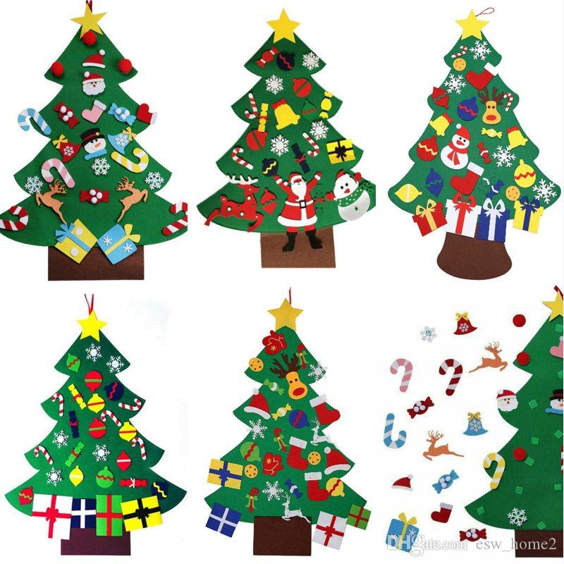 Hanging Christmas Decorations Wall.Diy Felt Christmas Tree With Pedant Ornaments Christmas Gifts Door Wall Hanging Xmas Decoration Kids Manual Accessories