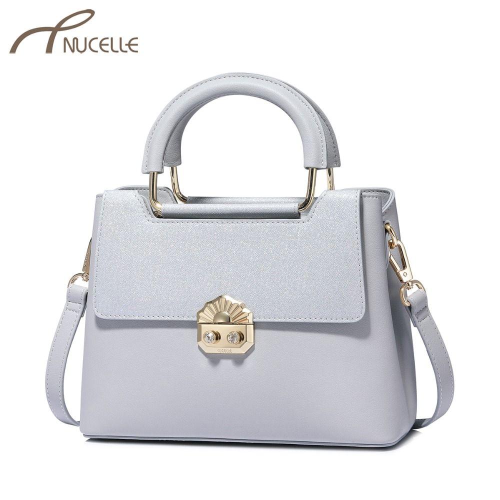b2872ec4cda7 NUCELLE Women S Leather Handbags Ladies Fashion Diamond Lock Messenger Tote  Purse Female Elegant Gray Brief Crossbody Bags Evening Bags Handbag Sale  From ...