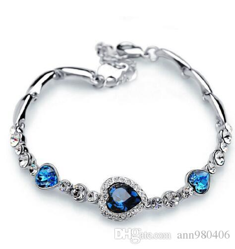 1 pc hot sellingNew Fashion Women new girl Ocean Blue Crystal Rhinestone  Heart Bangle Bracelet Gift 169f2c313e81