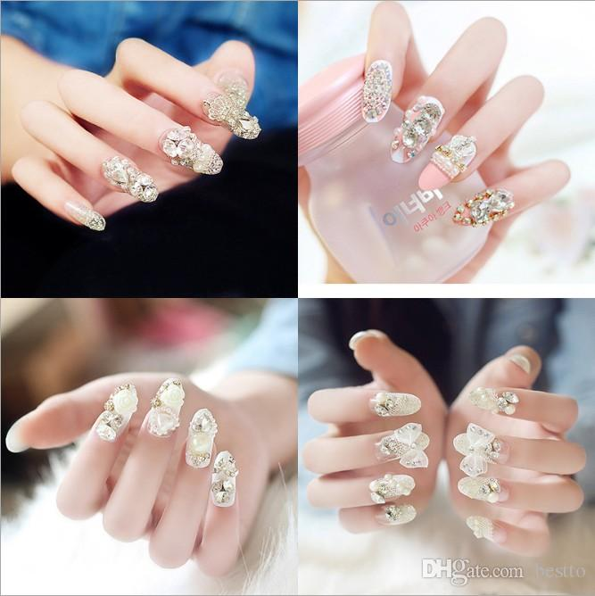 3D Bling Shining Glitter Diamond Rhinestone Pearls Design Full Cover Long Sharp Transparent Press on Fake Nail Tip Piece False Nails 24 pcs