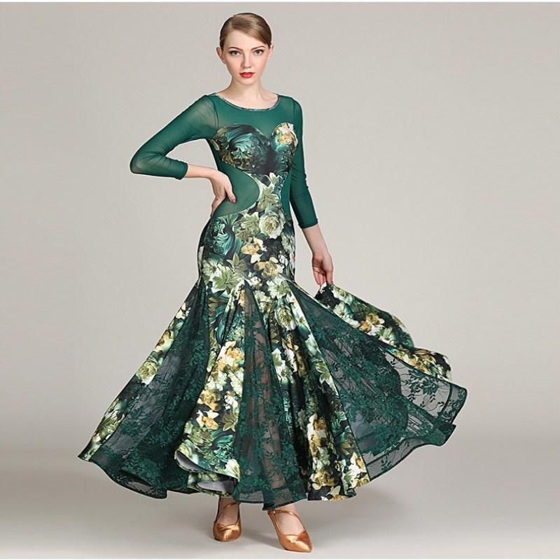 47a7434130d 2019 Adults Standard Ballroom Dress Woman Lady Modern Waltz Tango Dance  Competition Dresses Women Foxtrot Dance Dress Print Skirt From Xiayuhe