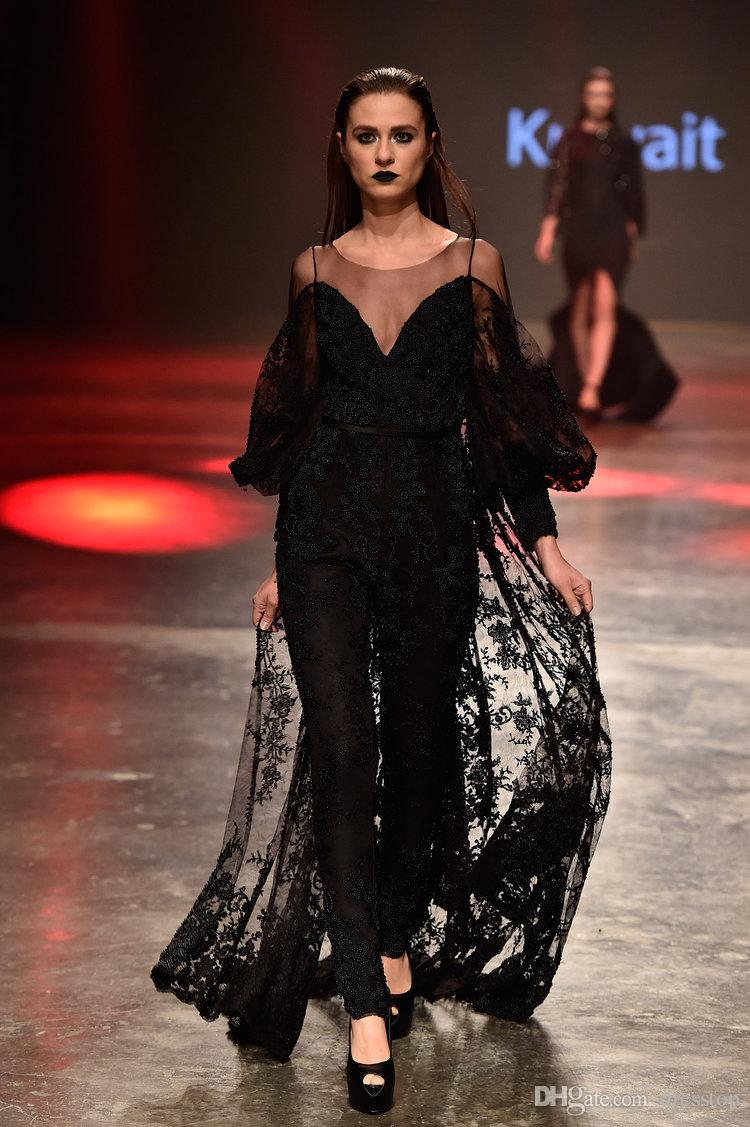 Sexy Black Yousef Aljasmi Jumpsuit Prom Dresses Sheer Scoop Neck Long Sleeve Formal Evening Dress With Overskirts Lace Party Gowns