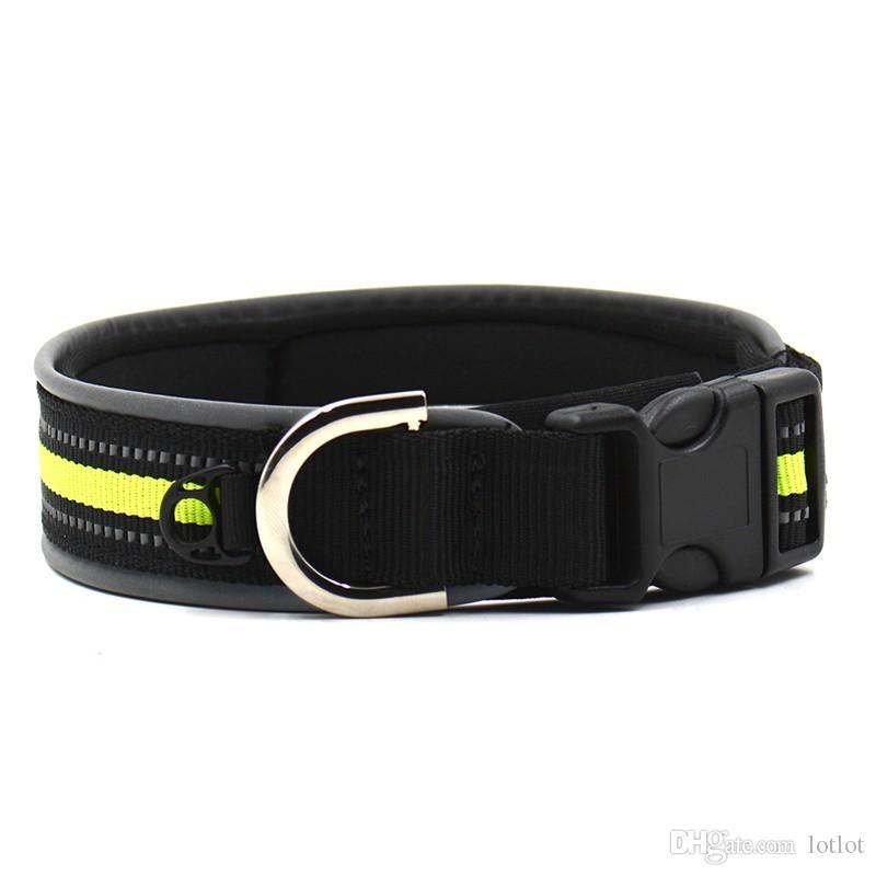 Adjustable Pet Dog Collar Soft Diving Material Reflective Studded Buckle Dog Collar Safe Dog Lead Size M L
