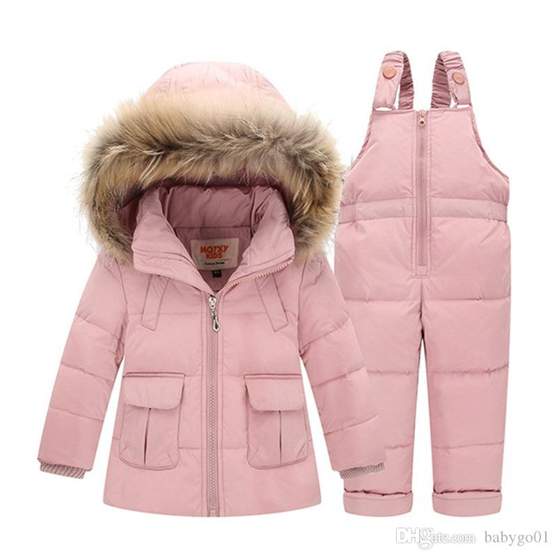 baf2f80035cf 2018 Winter for Boys Coat Girls Ski Suit Children Clothing Set Baby Duck  Down Jacket + Pants Overalls Warm Kids Clothes Snowsuit Outerwear Boys  Cheap Kids ...