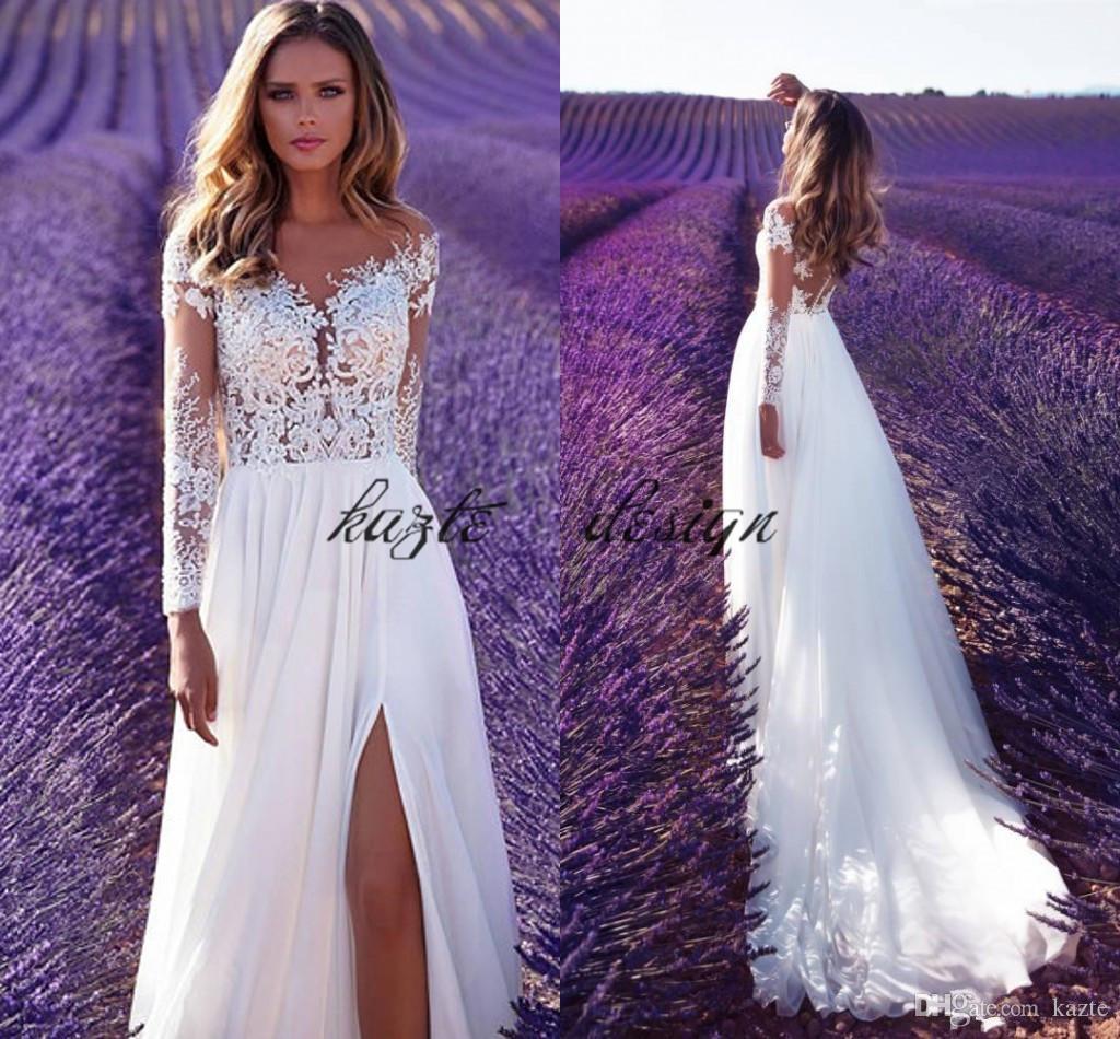 Discount 2018 Milla Nova A Line Wedding Dresses Sheer Neck Long ...