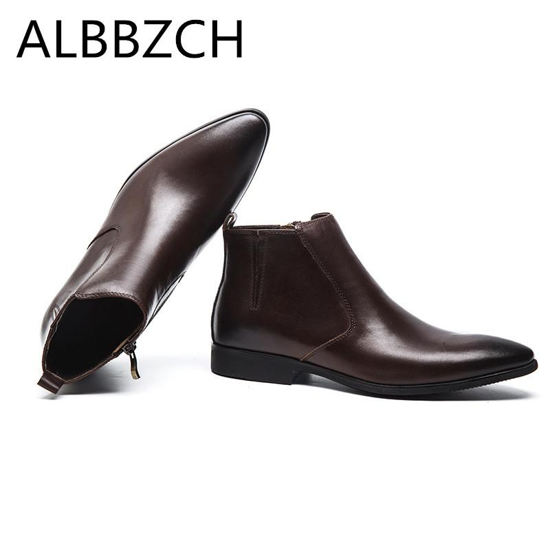 Hommes Pointu Automne Hiver Nouveau Haute Qualité Travail Noir Brun Homme Chaussures Bottes Bout En Cuir Bottines Véritable Quotidien N0wvnOm8