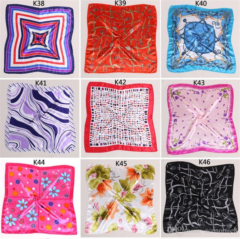 Más nuevo al por mayor Mujeres Niñas Estilo Coreano Hotel Camarero Asistentes de vuelo Impresión de negocios Plaza imitar bufanda de seda 50x50 cm libre de DHL