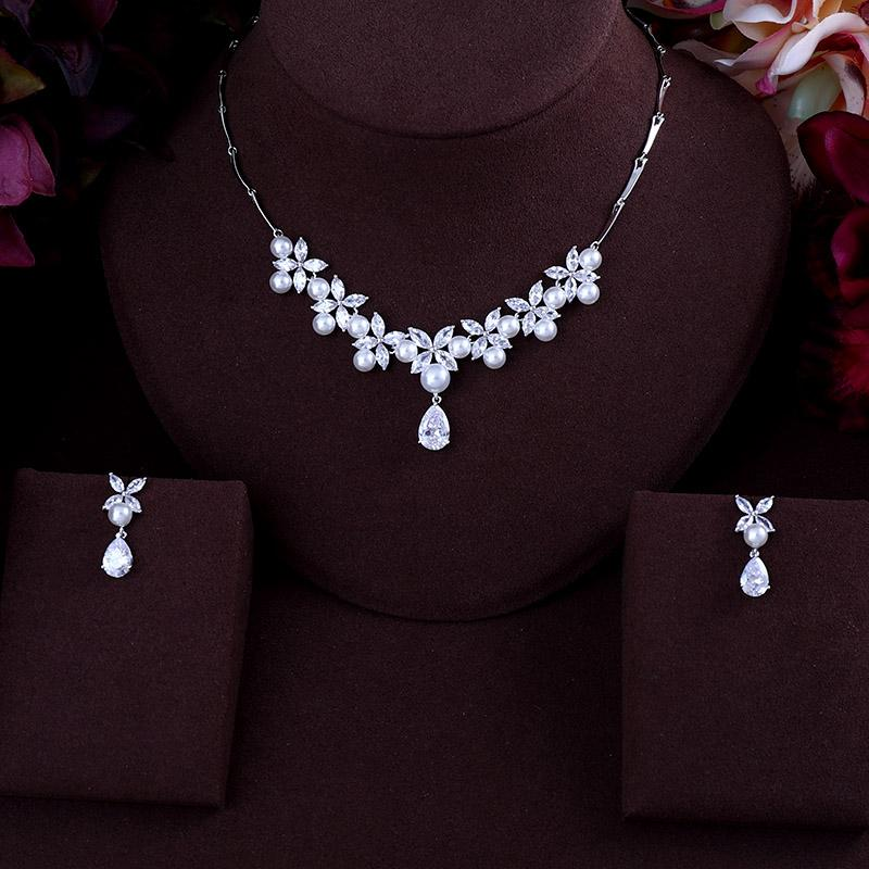 04904a6d5b4 BEST QUALITY BRILLIANT CRYSTAL ZIRCON PEARL EARRINGS AND NECKLACE BRIDAL  JEWELRY SET WEDDING DRESS ACCESSARIES