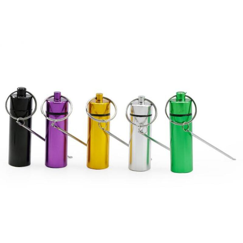 Portable Aluminium Key Ring Snuff Snorter Sniffer Powder Nose Bottle Pill Box Container Herb Storage Store Multiple Uses Scoop Spoon Shovel