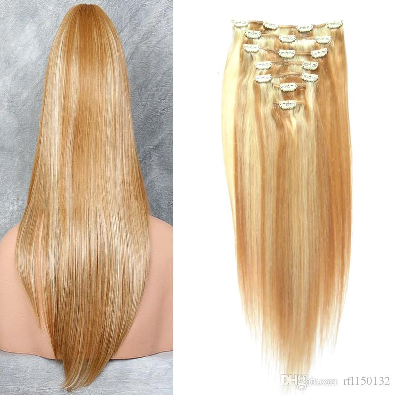 101214161820222426 Clip In Human Hair Extensions Straight 100g