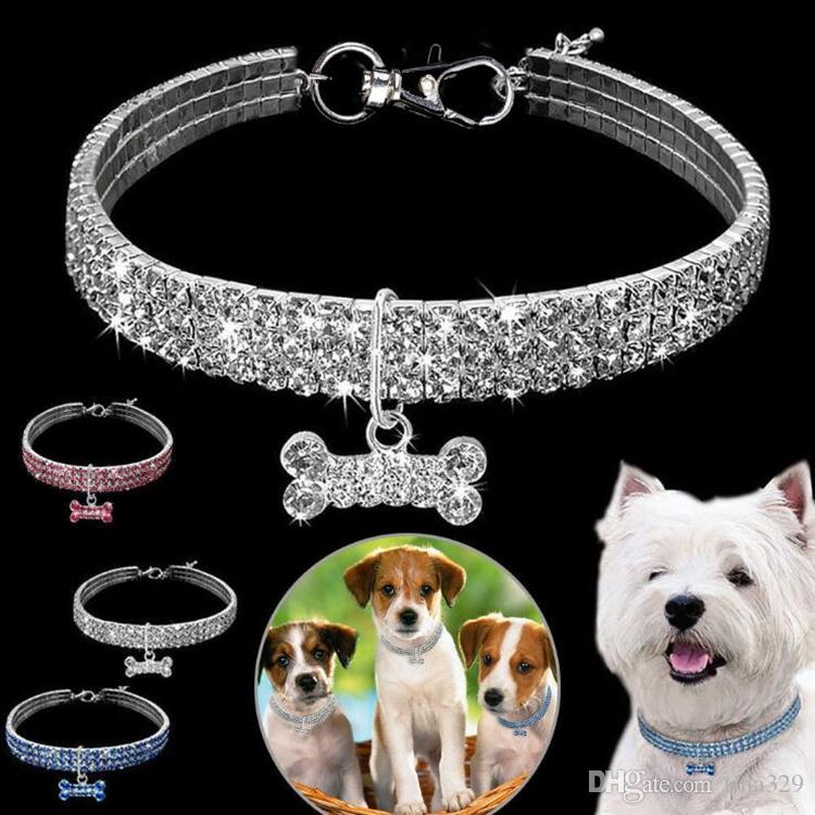 Fashion Pet Supplies 3 Row Rhine Rock Elastic Line Pet Necklace Dog Artificial Crystal Collar Neck Strap T7I007