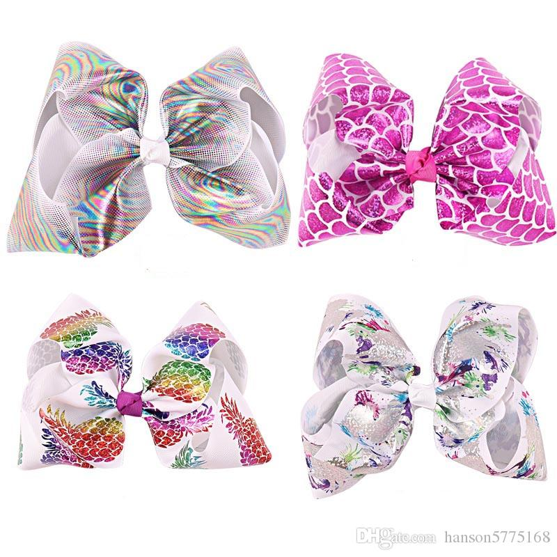 Baby 8 Inch Big Mermaid hair Ombre Hair Bow On Clip Scale Hair Clip For Kid Girl