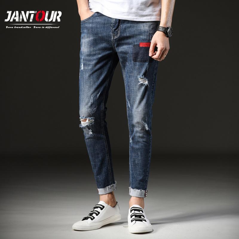 Compre Jantour 2018 Nueva Moda Blue Jeans Para Hombre Slim Fit Casual Denim  Pantalones Skinny Jeans Hombres Agujero Con Estilo Para Hombre Elastic  Pencil ... 7704595545b