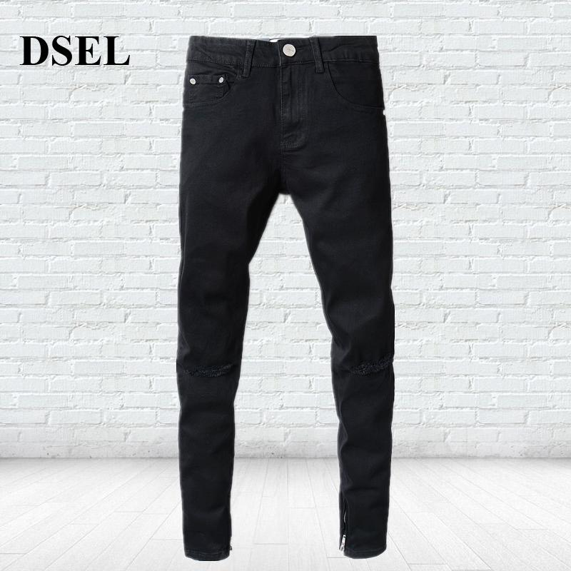 1e2d099c8cbf3 2019 Casual Strong Stretch Leg Length Ripped Knee Holes Jeans Men Brand  Clothing Men`s Selvedge Zipper Black Jeans Skinny A2001 From Flowter