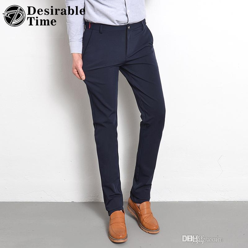 d46c0de4c3 Compre Traje Formal Para Hombre Pantalones Moda 2018 Nueva Llegada Oficina  De Negocios Pantalones De Vestir Para Hombre Tamaño 28 38 Pantalones Slim  Fit ...