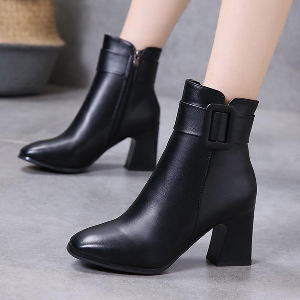 YOUYEDIAN Boots Women 2018 High Heel Boots Women Hoof Heel Black Buckle  Winter Shoes Casual Leather Bota Feminina Thigh High Boots Booties From  Romantravel ceec363eb17e