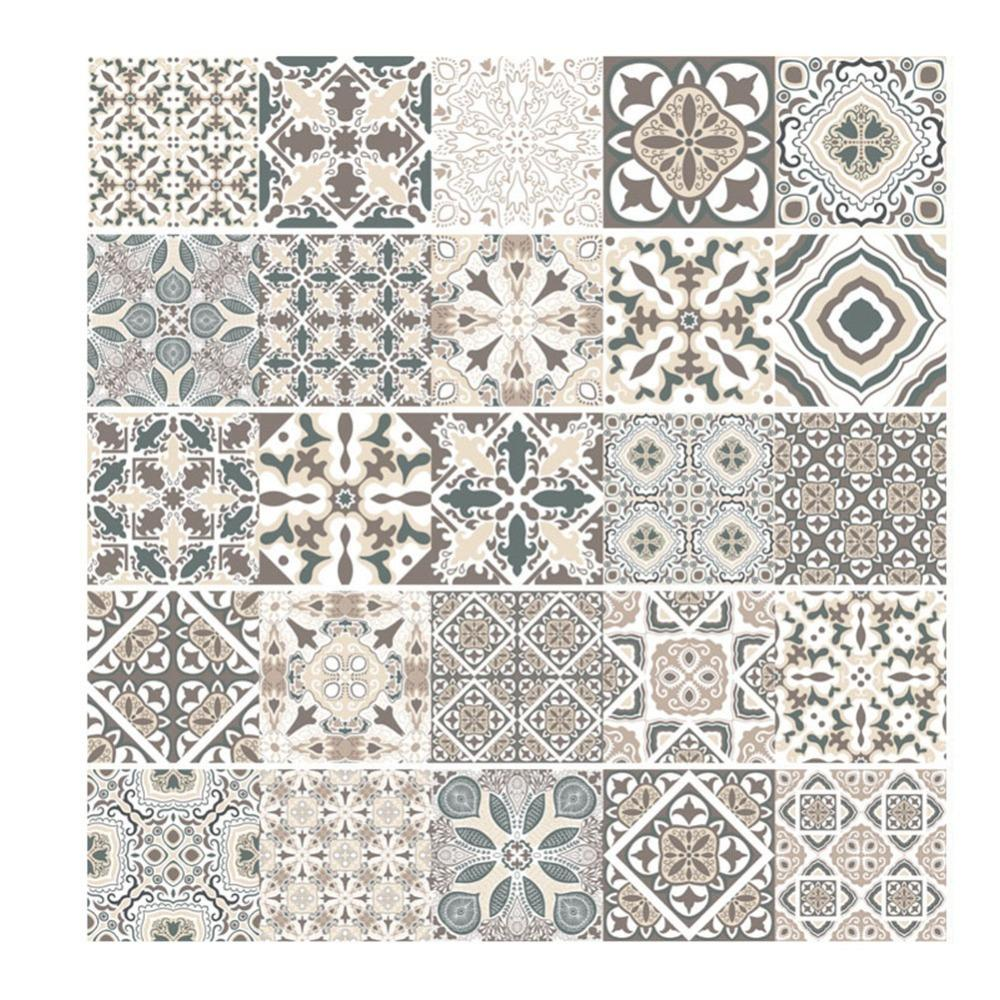 Vintage Mosaic Wall Tile Stickers Waist Europe Style Line Adhesive Pvc Wall Sticker Vintage